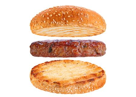 Bun and pork patty ingredient hamburger siolated on white background