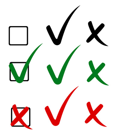 Check mark, tick and cross. Vector illustration