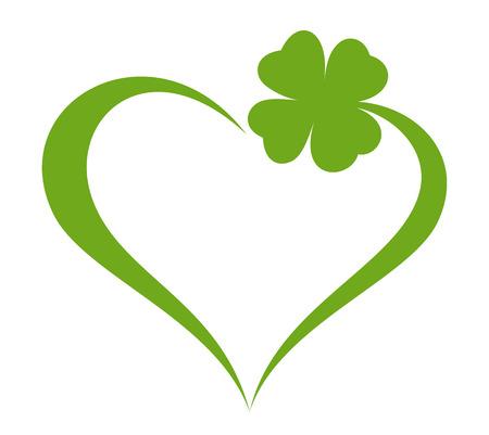 Illustration pour Heart icon with clover leaf icon - image libre de droit