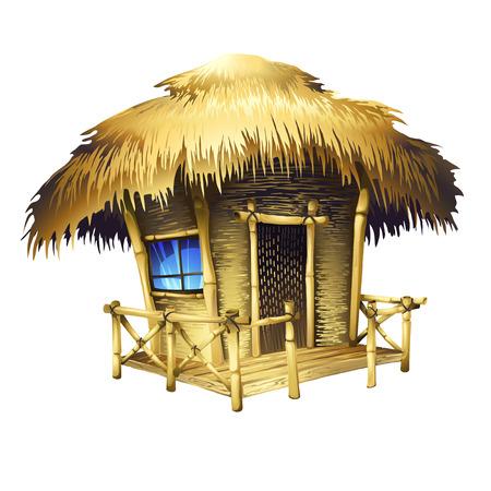 Illustration pour Tropical bungalow, isolated vector drawing - image libre de droit