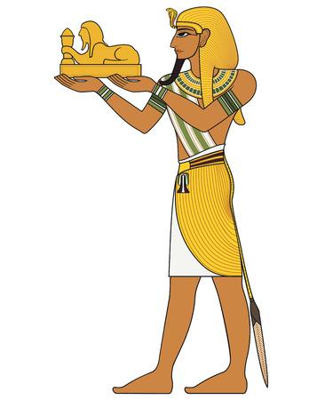 Pharaoh  egyptian ancient symbol isolated figure of ancient egypt deities