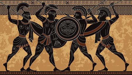 Illustration pour Ancient greece warrior.Black figure pottery.Ancient greek scene banner.Hero,spartan,myth.Ancient civilization culture - image libre de droit