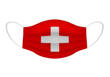 Illustration pour Coronavirus in Switzerland. Graphic of surgical mask with swiss flag. Novel coronavirus (2019-nCoV or CoVid-19). Medical face mask as concept of coronavirus quarantine. Coronavirus outbreak. - image libre de droit