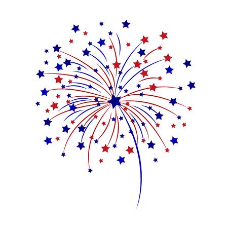 Ilustración de Celebratory fireworks on a white background vector illustration. - Imagen libre de derechos
