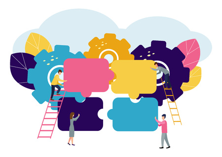 Illustration pour A group of businessmen involved in puzzle pieces, is to support the team, brainstorm or success, to find the perfect idea concept - image libre de droit