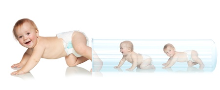 Photo pour Baby getting out of the tube. Artificial Insemination. In Vitro Fertilization - image libre de droit