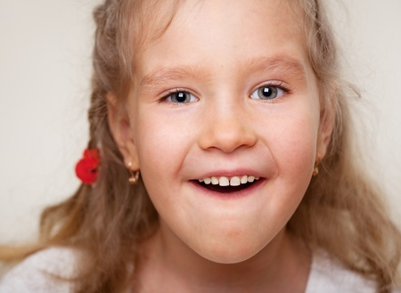 Surprised little girl with open mouth. Portrait clouseup.