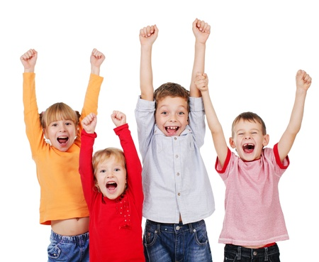 Photo pour Happy kids with their hands up isolated on white - image libre de droit