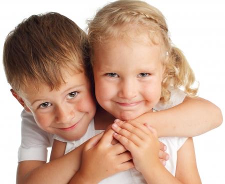 Photo pour Happy children isolated on white - image libre de droit