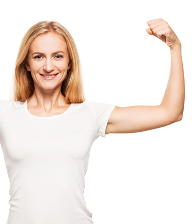 Strong woman. Female showing biceps