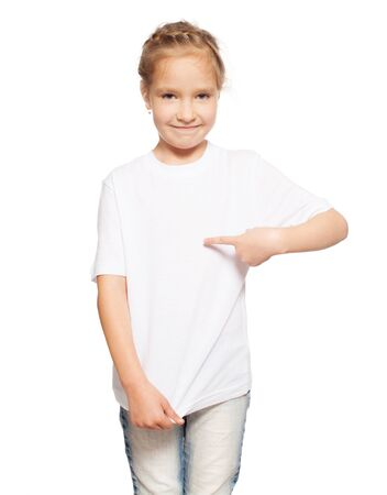 Photo pour Child in white t-shirt. Girl isolated on white - image libre de droit