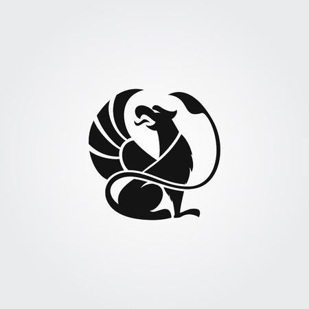 Ilustración de Logo silhouette of the griffin with open beak and raised wing in the circle - Imagen libre de derechos