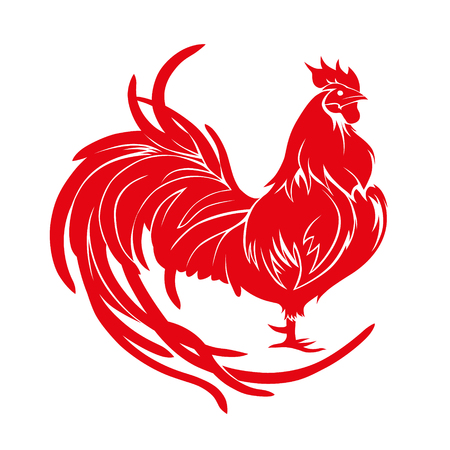 Illustration pour Red rooster, symbol of 2017 on the Chinese calendar. - image libre de droit