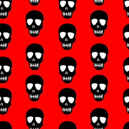 Illustration pour Seamless pattern of a black skull on a red background. Skull pattern. Bright design for Halloween, day of the dead - image libre de droit