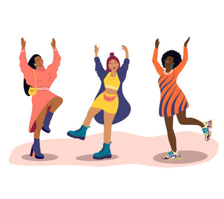 Vektor für Young women of different nationalities dance. Girls in fashionable clothes have fun at a party. Cartoon flat vector illustration. International women day - Lizenzfreies Bild
