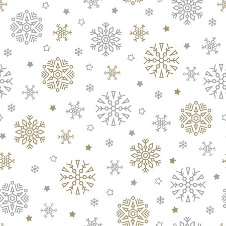 Illustration pour Christmas seamless pattern with snowflakes and stars on white background. Vector illustration. New Year background. For web, wrapping paper, scrapbooking, for printing on textile, crockery, package. - image libre de droit