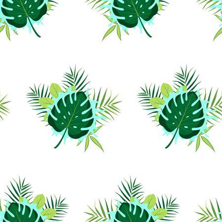 Illustration pour Tropical seamless pattern with leaves. Vector illustration. - image libre de droit