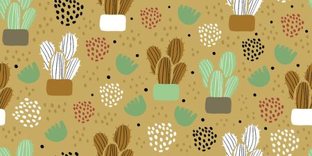 Illustration pour Seamless pattern with cactuses, succulents, leaves and polka dots in scandinavian style. Perfect for textile, wallpaper for kids. Scandinavian plants background in pastel colors - image libre de droit