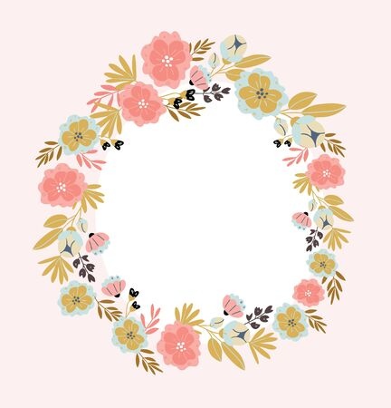 Illustration pour Vertical banner with spring flowers, herbs, leaves isolated on light pink background. Spring background in cartoon hand drawn style. Minimalistic wreath in bloom. Perfect for textile, fabric, postcard - image libre de droit