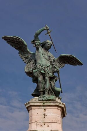 The bronze statue of Archangel Michael, standing on top of the castel Sant'Angelo, Rome, Italy