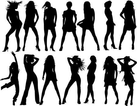 vector fashion women silhouette