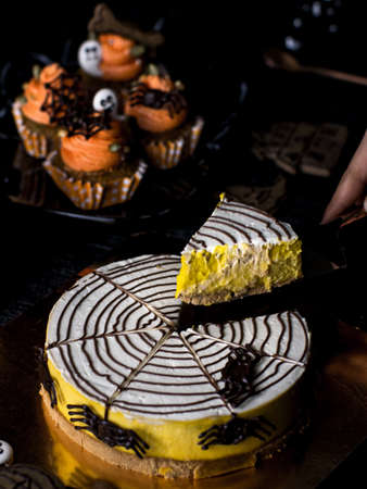 Photo for Halloween Party Bakery Table with  Cupcake Muffin and cookies. - Royalty Free Image