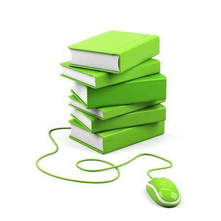 Photo pour Computer mouse and books - e-learning concept. 3d image.  - image libre de droit