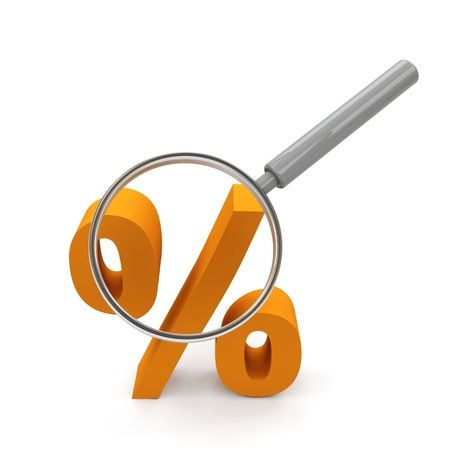 Symbol of rate under magnifying glass.