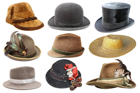 collage with different hats isolated over white background