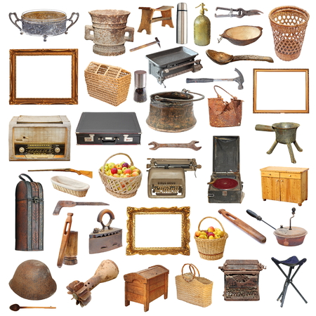 collection of vintage objects isolated over white background