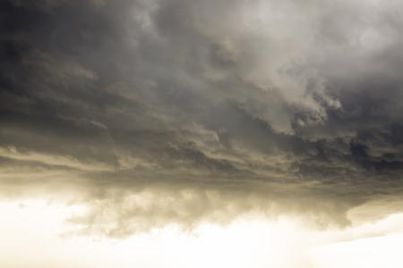 Cloudy sky full of deep grey clouds. Storm cloud