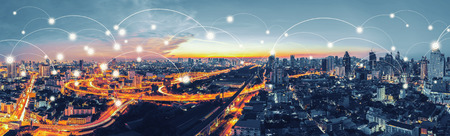Foto de Network and Connection technology concept with Bangkok Expressway top view in panorama at sunrise, Thailand. - Imagen libre de derechos