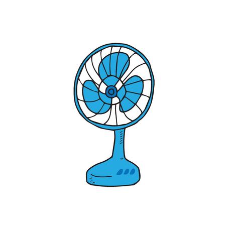 Illustration pour House item electric fan cartoon - image libre de droit