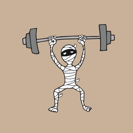 Ilustración de Halloween mummy weight lifting cartoon drawing - Imagen libre de derechos