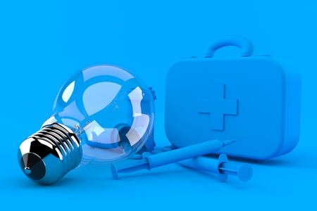 Healthcare background with light bulb in blue color. 3d illustration