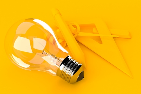 Education background with light bulb in orange color. 3d illustration