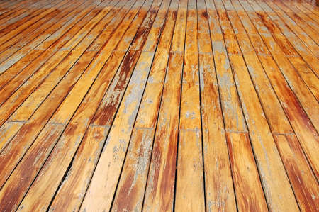 Weathered floorboards on a balcony in Thailand