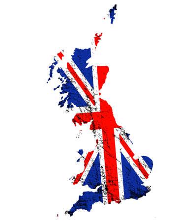 Illustration pour Outline of Great Britain with grunged Union Jack flag - image libre de droit