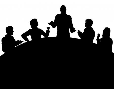 Vektor für Editable vector silhouette of a business meeting with each figure as a separate object - Lizenzfreies Bild