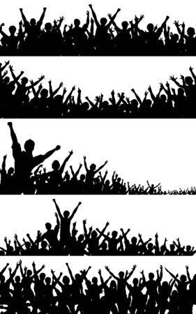Illustration pour Set of editable vector crowd silhouettes with each person as a separate object - image libre de droit