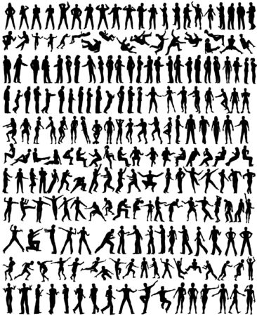 Illustration for Over 200 detailed editable vector people silhouettes - Royalty Free Image