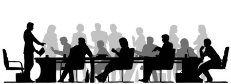 Vektor für Editable vector foreground silhouette of people in a meeting with all figures and other elements as separate objects - Lizenzfreies Bild