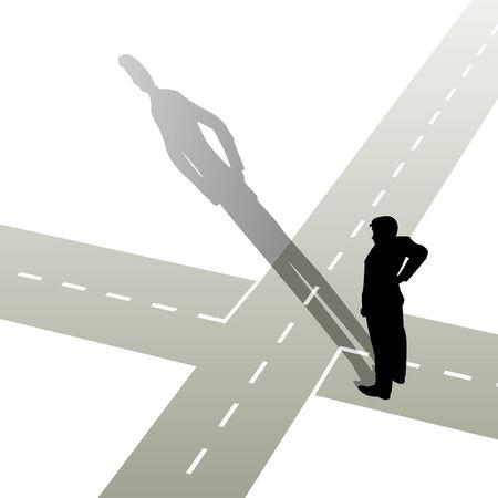 Illustration pour illustration of a man standing at a crossroads - image libre de droit