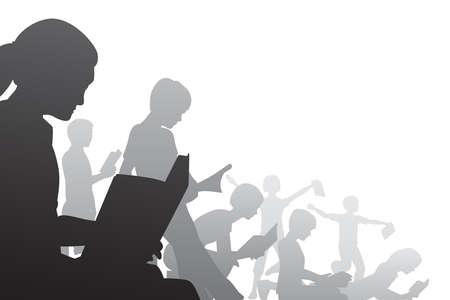 Illustration for Editable foreground illustration of children reading books - Royalty Free Image