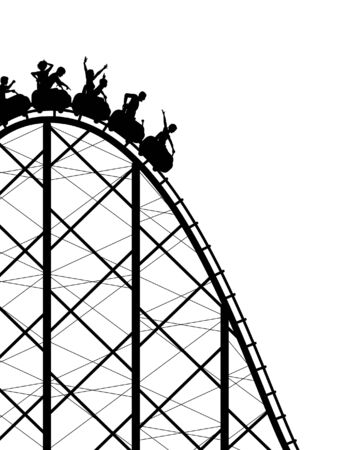 Editable silhouette of a steep roller coaster ride