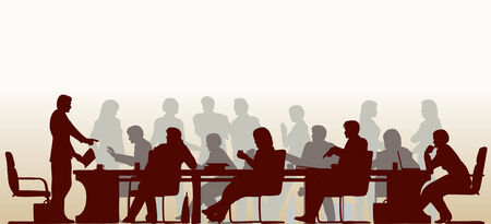 Vektor für Editable foreground silhouette of people in a meeting with all figures and other elements as separate objects - Lizenzfreies Bild