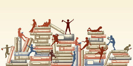 Illustration for Editable illustration of children reading and clambering over piles of books - Royalty Free Image