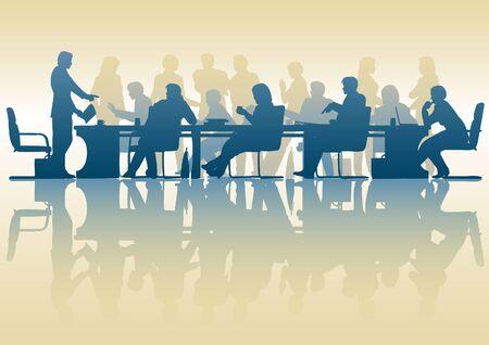 Vektor für Editable silhouette of people in a meeting with reflection - Lizenzfreies Bild