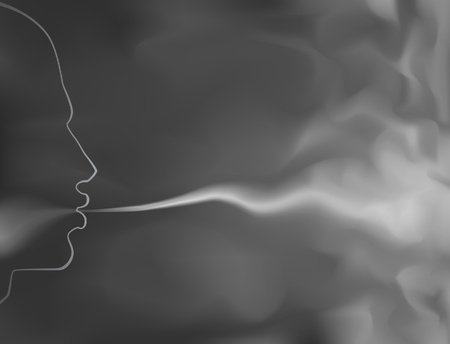 Illustration pour Editable vector illustration of a man blowing smoke made with a gradient mesh - image libre de droit
