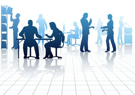 Illustration pour Editable silhouettes of people in a busy office with reflections - image libre de droit